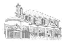 Black Custom Built Home Drawing on White. Custom Black House Drawing on White Background royalty free illustration