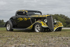 Black custom hot rod with flames Stock Image