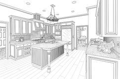 Black Custom Kitchen Design Drawing on White vector illustration