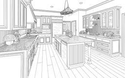 Black Custom Kitchen Design Drawing on White royalty free illustration