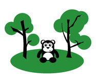 Black Cute Bear Between Trees Stock Photos