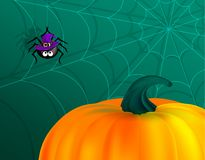 Black cute spider on cobweb wearing purple witch hat and orange pumpkin on dark green background. Happy Halloween background.  royalty free illustration