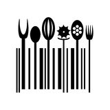 Black Cutlery icon in a shape of barcode. Stock Photos
