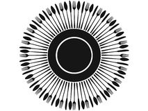 Black cutlery silhouettes around plate Stock Images
