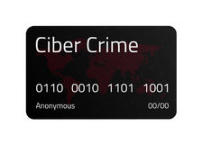 Black Cyber Crime credit card with World Map and connections line. Stock Photography
