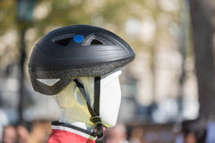 Black cycling helmet on a dummy head Stock Photo