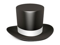 Black cylinder hat with white ribbon Stock Image