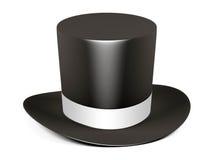 Black cylinder hat with white ribbon Stock Image