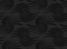 Black 3d abstract shapes with leaves. Black 3D seamless background. Dark pattern with realistic shadow.Black 3d abstract shapes with leaves Stock Photos