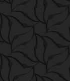 Black 3d abstract wavy floral forming flower. Black 3D seamless background. Dark pattern with realistic shadow.Black 3d abstract wavy floral forming flower Stock Photos