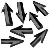 Black 3d arrows. Set of shiny straight signs. Vector illustration isolated on white background stock illustration