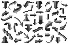 Black 3d arrows. Shiny icons. Vector illustration isolated on white background Stock Images