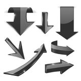 Black 3d arrows. Shiny icons. Vector illustration isolated on white background Royalty Free Stock Photo