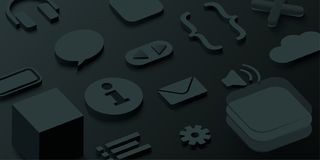 Black 3d background with web symbols. Vector illustration Stock Images