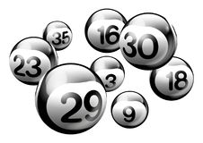 Vector Bingo Lottery Number Balls. Black 3D Bingo Lottery Number Balls Isolated on White Background Royalty Free Stock Photography