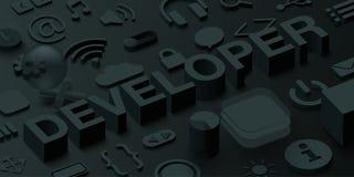 Black 3d developer background with web symbols. Vector illustration Royalty Free Illustration