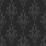 Black 3d Floral Damask Seamless Pattern. Black Floral Damask 3d Seamless Pattern. Vector Background. Decoration For Wallpaper or Invitation Card Stock Photos