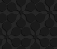 Black 3d geometric abstract flowers. Black 3D seamless background. Dark pattern with realistic shadow.Black 3d geometric abstract flowers Royalty Free Stock Photos
