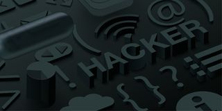 Black 3d hacker background with web symbols. royalty free illustration