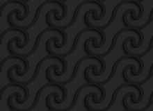 Black 3d horizontal spiral waves Royalty Free Stock Photos