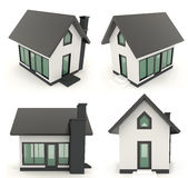 Black 3D house icons in different angle Royalty Free Stock Photos