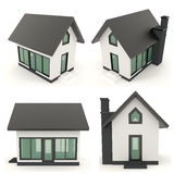 Black 3D house icons in different angle Stock Images