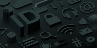Black 3d ID background with web symbols. royalty free illustration