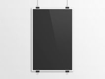 Black 3D illustration poster mockup with paper clip hanging. Black 3D illustration poster mockup. Paper clip hanging method Stock Photography