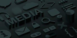 Black 3d media background with web symbols. vector illustration