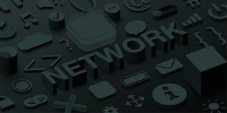 Black 3d network background with ui web symbols. stock illustration