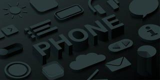 Black 3d phone background with web symbols. Vector illustration Stock Image