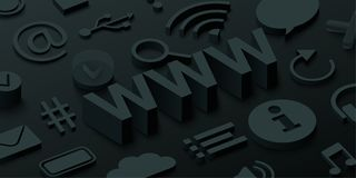 Black 3d www background with web symbols. vector illustration