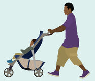 Black Dad and Baby. Black Father Pushing his Child in Stroller Royalty Free Stock Image