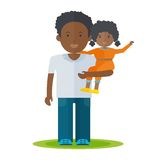 Black dad and baby girl. African father and little baby girl in his hands. Dad and baby flat vector cartoon illustration. Objects isolated on a white background Stock Photos