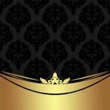 Black damask Wallpaper with golden Border Stock Images