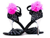 Black Dance Sandals High Heels Stock Photo