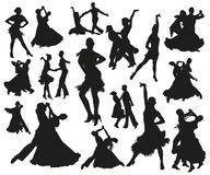 Black dancing pair isolated people silhouette set. Black dancing isolated people silhouette set. Dancers waltz tango and disco stock illustration