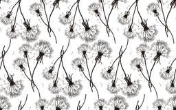Black dandelions seamless texture. Illustration Royalty Free Stock Photos