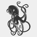 Black danger cartoon octopus characters with. Curling tentacles swimming underwater, on white. Tattoo or pattern on a t-shirt, poster or logo, vector stock illustration
