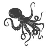Black danger cartoon octopus characters. Tattoo or pattern to t-shirt, poster logo, vector illustration Royalty Free Stock Photos