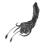 Black danger cartoon squid, calamary characters with curling tentacles swimming underwater,  on white. Tattoo or Royalty Free Stock Images
