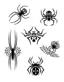 Black danger spiders set Stock Images