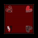 Black and dark red background with hearts Royalty Free Stock Images