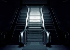 Black, Darkness, Escalator, Black And White Royalty Free Stock Photography
