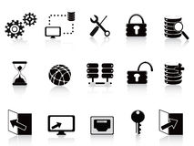 Black database and technology icon Stock Photography