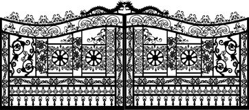 Black decorated gate on white Stock Photography