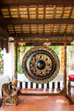 Black decorated gong in a budhist temple, Thailand Royalty Free Stock Photography