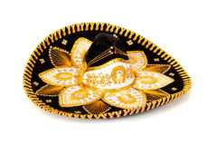 Black Decorated mariachi sombrero on white Stock Images