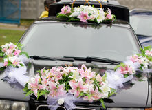 Black decorated wedding car Royalty Free Stock Photo