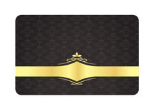 Black Decorative Card with Vintage Pattern and Gol Stock Photos